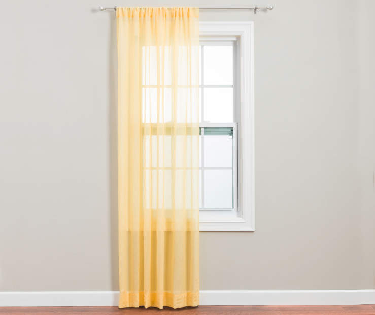 Yellow Crushed Voile Curtain Panel 84 Inches on Window Room View