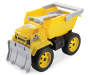 Yellow Dump Truck Matchbox Toy with Shovel, Plow and Decals Quarter Side View Silo Image