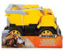Yellow Dump Truck Side View with Matchbox Packaging Silo Image