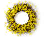 Yellow Forsythia Floral Twig Wreath 24 inches Silo Front View