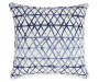 Zola Navy Blue Crossing Line Outdoor Throw Pillow 17 inches by 17 inches Silo Image Front View