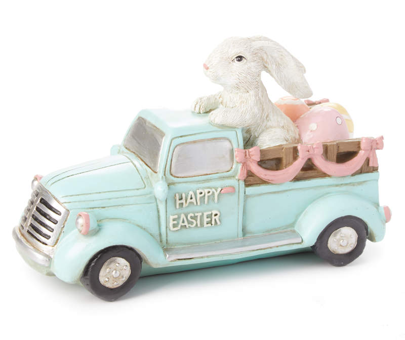 """Happy Easter"" Bunny in Blue Vintage Truck Décor"